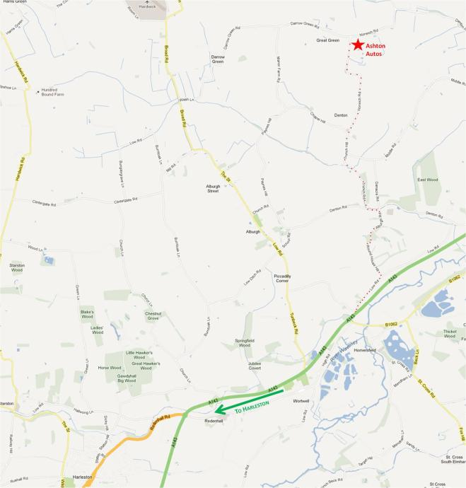 Annotated map showing the route from the A143 (coming from Harleston)